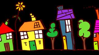 cartoon of suburban street