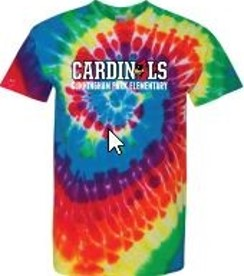 rainbow tie dye cardinal shirt